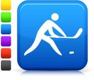 Hockey icon on square internet button Stock Photos