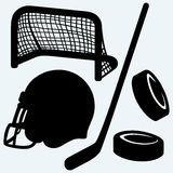 Hockey icon. stick, puck, hockey gates and helmet Royalty Free Stock Photo