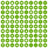 100 hockey icons hexagon green. 100 hockey icons set in green hexagon isolated vector illustration Stock Photo