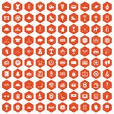 100 hockey icons hexagon orange. 100 hockey icons set in orange hexagon isolated vector illustration Royalty Free Illustration
