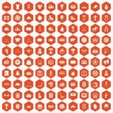 100 hockey icons hexagon orange Royalty Free Stock Photos