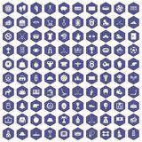 100 hockey icons hexagon purple. 100 hockey icons set in purple hexagon isolated vector illustration Stock Illustration