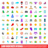 100 hockey icons set, cartoon style. 100 hockey icons set in cartoon style for any design vector illustration stock illustration