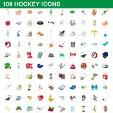 100 hockey icons set, cartoon style. 100 hockey icons set in cartoon style for any design illustration vector illustration