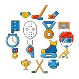 Hockey icons set, cartoon style. Hockey icons set. Cartoon illustration of 16 hockey vector icons for web Stock Photo