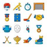 Hockey icons set, cartoon style. Hockey icons set. Cartoon illustration of 16 hockey vector icons for web Royalty Free Stock Photos