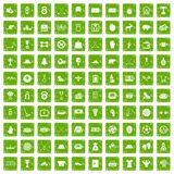100 hockey icons set grunge green. 100 hockey icons set in grunge style green color isolated on white background vector illustration Stock Photo