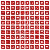 100 hockey icons set grunge red. 100 hockey icons set in grunge style red color isolated on white background vector illustration Royalty Free Stock Image