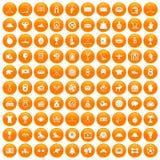 100 hockey icons set orange. 100 hockey icons set in orange circle isolated on white vector illustration royalty free illustration