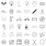 Hockey icons set, outline style Royalty Free Stock Images