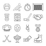 Hockey icons set, outline style. Hockey icons set. Outline illustration of 16 hockey vector icons for web Stock Images