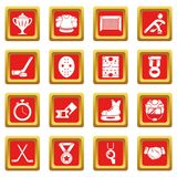 Hockey icons set red square vector Royalty Free Stock Photo
