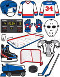 Hockey Items. Items/Equipment used in the sport of Hockey Stock Image