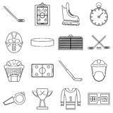 Hockey items icons set, outline style. Hockey items icons set. Outline illustration of 16 hockey items vector icons for web Royalty Free Stock Photo