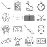 Hockey items icons set, outline style Royalty Free Stock Photo