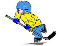Hockey kid. Kid playing ice hockey with too large clothes Stock Photos