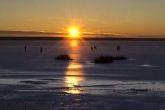 Hockey. Kids play hockey on the lake Stock Photos