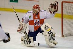 Hockey-Klumpen-Mailand-rotes Blau: Tormann Paolo Della ist Lizenzfreies Stockbild