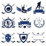 Hockey labels and icons set. Vector. Hockey labels and icons set royalty free illustration