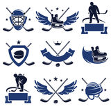 Hockey labels and icons set. Vector. Stick, rink, sport royalty free illustration