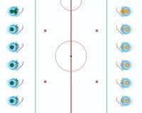 Is-hockey lag av snowmen royaltyfri illustrationer