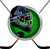 Hockey logo. Logo hockey puck is a round helmet in the form of sticks Stock Image