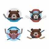Hockey logo bear set. Muzzle animals with sticks for ice hockey Stock Image