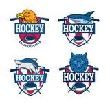 Hockey logo set. Royalty Free Stock Photo