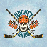 Hockey logo - a skull in a helmet Royalty Free Stock Photo