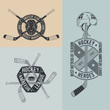 Hockey logo. Unusual hockey logo in retro style for clubs and competitions. Hockey emblem with sticks, helmets, goalie mask Royalty Free Stock Photography