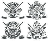 Hockey logos goalie masks Royalty Free Stock Images