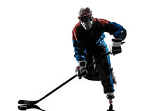 Hockey man player silhouette Stock Images