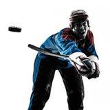 Hockey man player silhouette Royalty Free Stock Photos