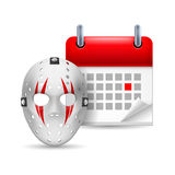 Hockey mask and calendar Royalty Free Stock Images