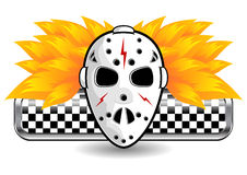 Hockey mask on fire. Isolated over white background Royalty Free Stock Images