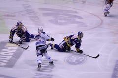 Hockey match - selfsacrific players Stock Photography