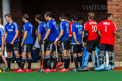 Hockey Mens Argentina Plays South Africa. Mens hockey game action at Kearsney College   astro field between Argentina plays South Africa Stock Photo