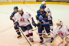 Hockey met de puck Stock Fotografie