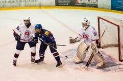 Hockey met de puck Royalty-vrije Stock Foto