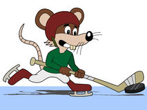 Hockey mouse cartoon Royalty Free Stock Images