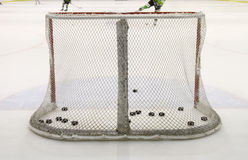 Hockey net. Goal post and net in a hockey arena Royalty Free Stock Images