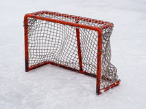 Hockey net. On outdoor rink Royalty Free Stock Image