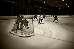 Hockey net. Popular scoring area around the front of the hockey net Stock Image