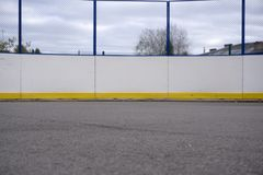 Hockey net on a blue rink summer winter . royalty free stock photo