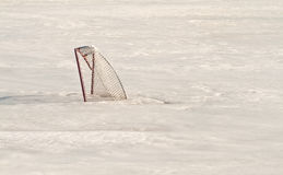 Hockey net in Ice Stock Images