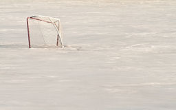Hockey Net In Ice Stock Image