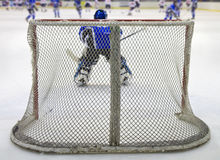 Hockey net. Ice hockey net seen from behind Stock Image