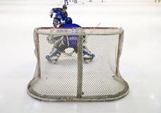Hockey net. Ice hockey net seen from behind Stock Images