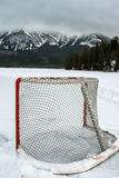 Hockey Net. Outdoor hockey net set on a lake in the mountains Stock Photo