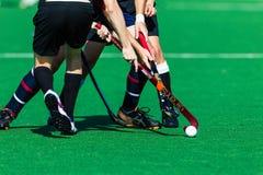 Hockey Niet geïdentificeerde Spelers Clash Ball Sticks Stock Afbeeldingen